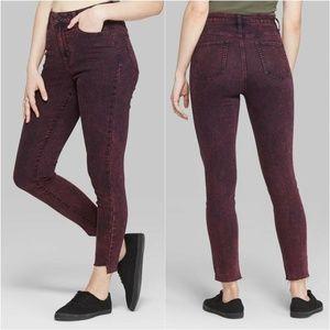 Wild Fable Maroon Acid Wash Skinny Jeans
